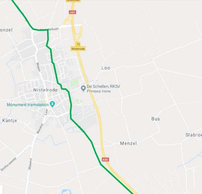 De snelfietsroute door Nistelrode.
