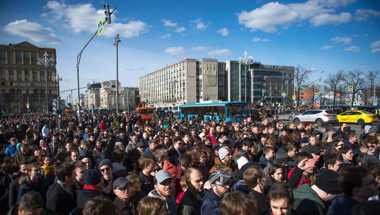 Massademonstraties zijn terug in Rusland, zoals hier in Moskou op 26 maart 2017. Beeld afp