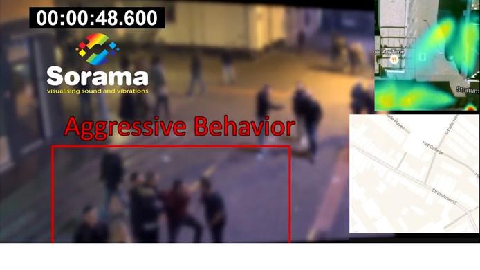 Het Living Lab op Stratumseind werkt met slimme camera's. Op deze beelden is te zien dat de sensors automatisch agressief gedrag herkennen. De camerabeelden zijn bewust vaag gemaakt ivm privacy.