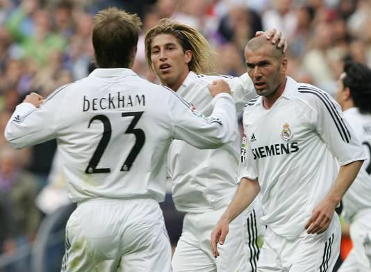 Sergio Ramos in mei 2006, toen nog met huidig Real-trainer Zinedine Zidane en David Beckham.