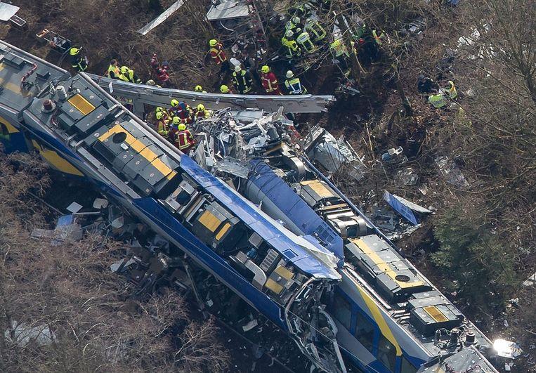 De treinbotsing in Beieren, Duitsland. Beeld epa