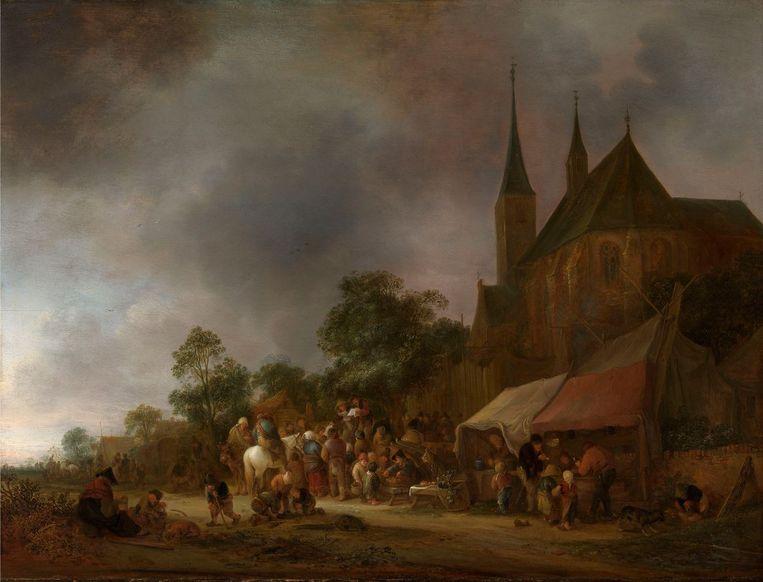 Dorpskermis met een kerk in de achtergrond, Van Ostade 1643. Beeld Royal Collection Trust