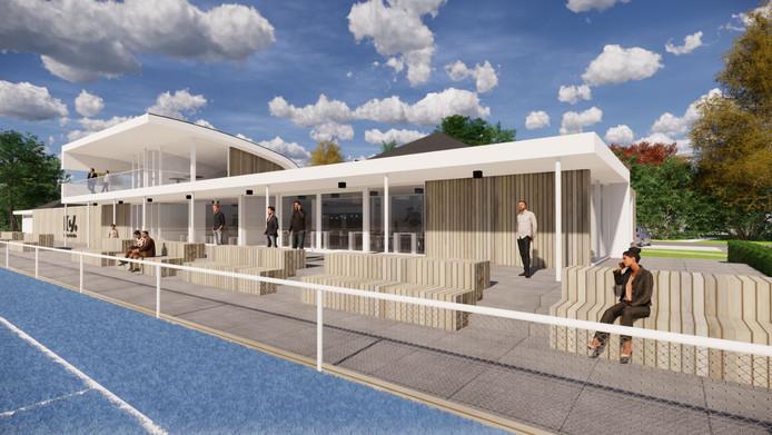 Impressie van het nieuwe clubhuis van hockeyclub HCU uit Uden. Het puntdakje van het huidige clubhuis is nog net zichtbaar.