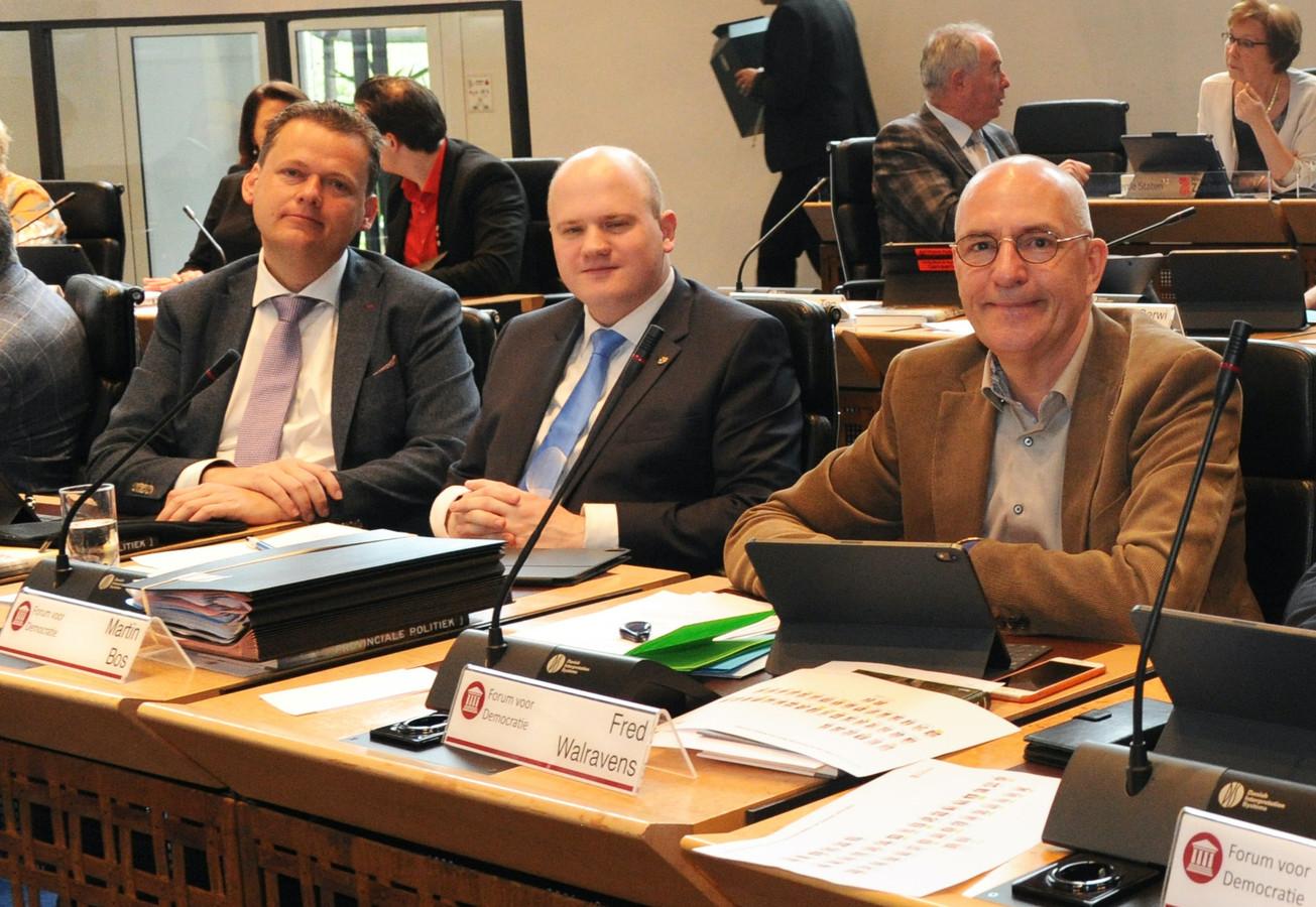 De fractie van Forum voor Democratie, met (vlnr) Eelco van Hoecke, Martin Bos en Fred Walravens.