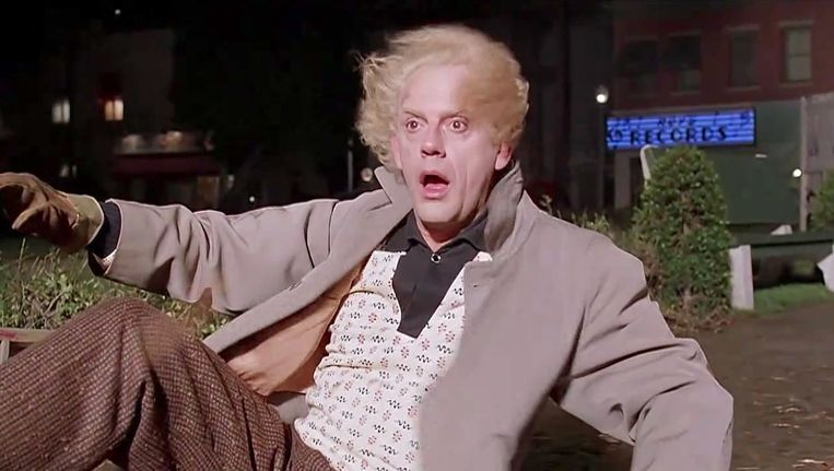 Dr. Emmett Brown uit Back to the Future Beeld null