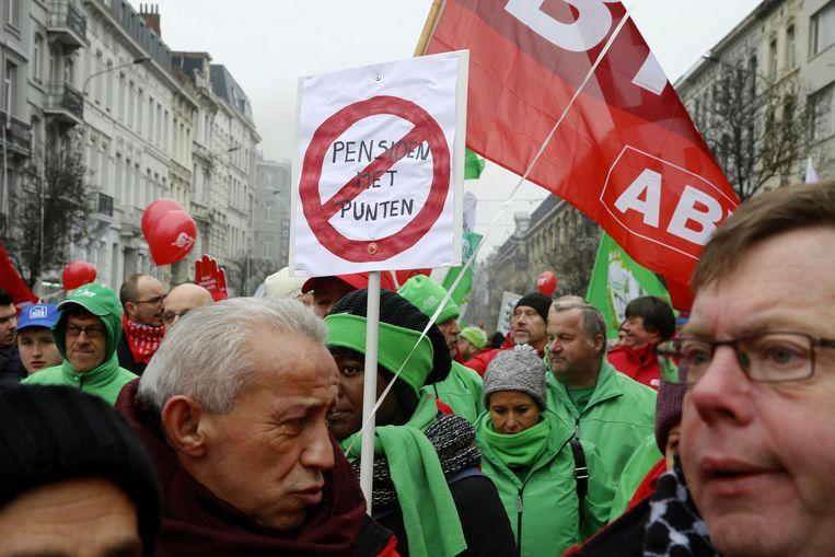 Ook op 19 december werd er betoogd tegen de pensioenhervorming.