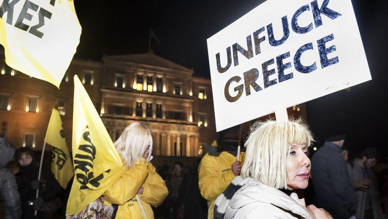 Demonstratie op het Syntagmaplein. Beeld Sanne de Wilde