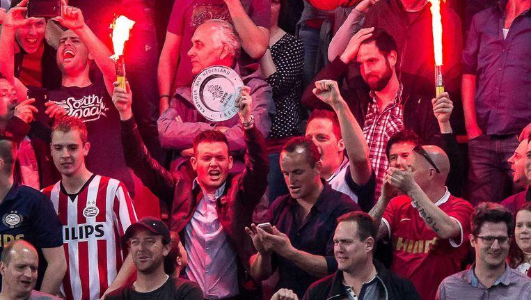PSV-fans tijdens de wedstrijd tegen PEC, vorige week. Beeld anp