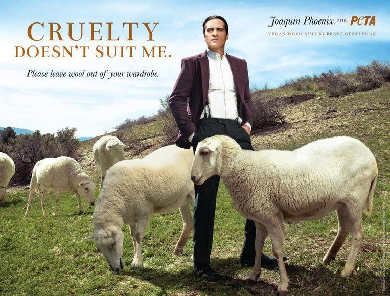 Joaquin Phoenix in een campagne tegen wol.