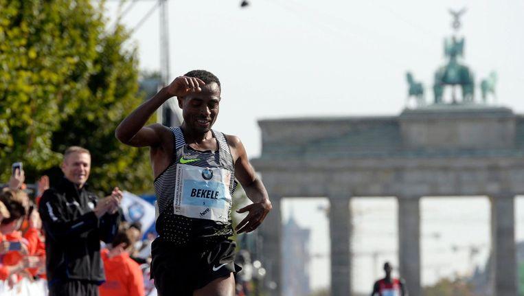 Kenenisa Bekele tijdens de marathon van Berlijn Beeld anp