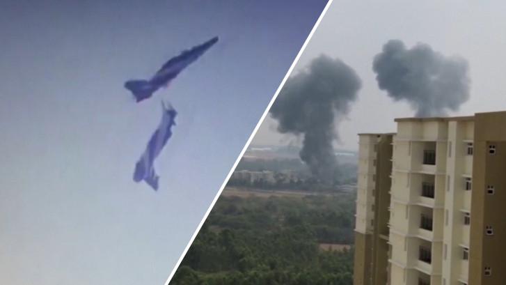 Vliegtuigen crashen bij oefenshow Indiase luchtmacht
