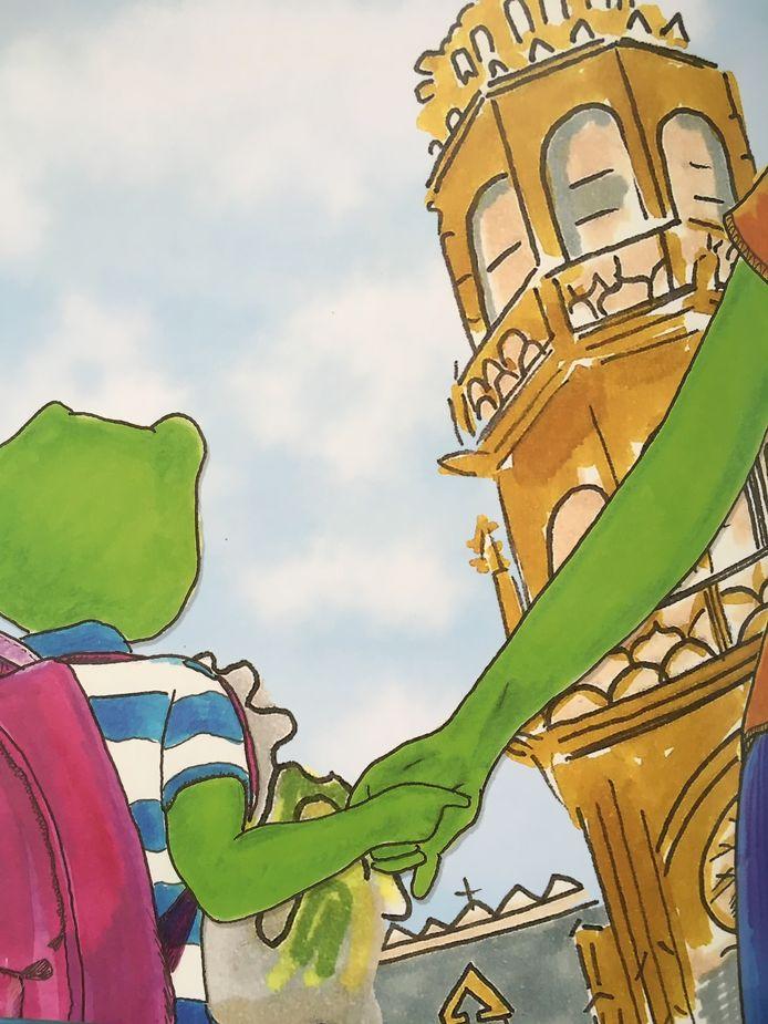 Met een prent waarop de toren van het stadhuis te zien is, stopt Hélène ook een stukje Oudenaarde in het kinderboek.