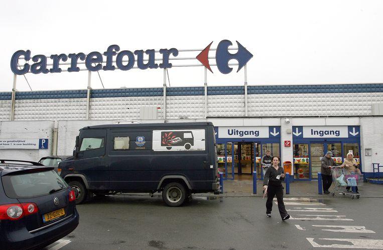 De hypermarkt in Voortkapel, Westerlo. Morgen blijven de deuren dicht, door een staking bij het personeel.