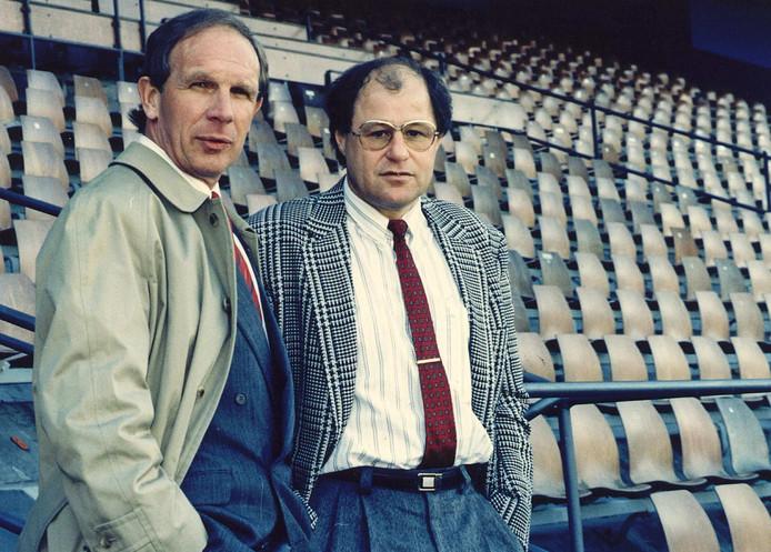 Hans Kraay sr. (links) in zijn tijd als algemeen directeur bij Feyenoord. Naast hem trainer Rinus Israël.