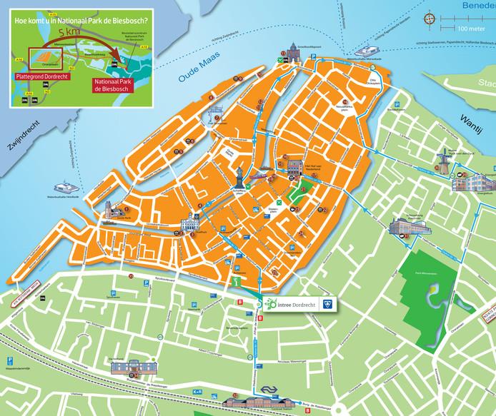 Kaart van Dordrecht.