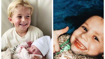 SHOWBITS. Het zoontje van Kim Van Oncen is fier op zijn zusje, en herken jij de BV op deze foto uit de oude doos?