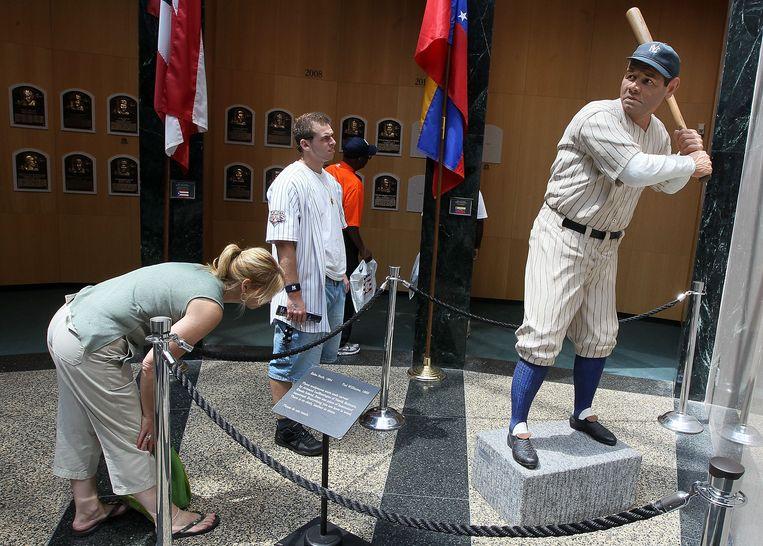 Ook nu nog trekt een beeld van Babe Ruth veel aandacht in de Hall of Fame. Beeld Getty Images