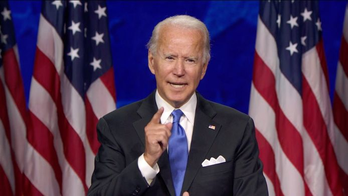 Voormalige vicepresident en huidig presidentskandidaat Joe Biden tijdens zijn acceptatiespeech. (20/08/2020)