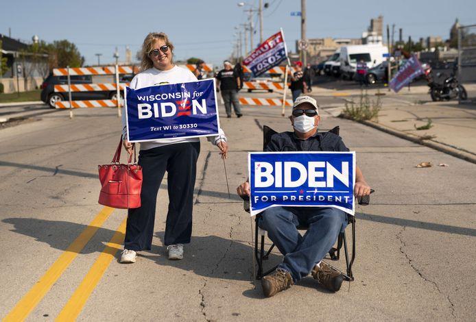 Aanhangers van Biden in Wisconsin.