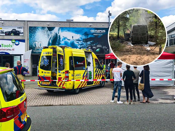 Na de overval schoten politie, ambulance en brandweer te hulp bij de vestiging van Cameratools in Apeldoorn. De vermoedelijke vluchtauto werd uitgebrand teruggevonden in een bos bij Hoenderloo.