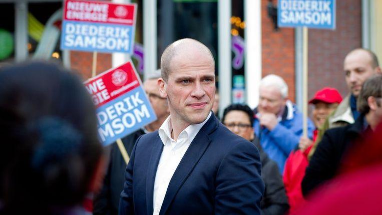 Diederik Samsom tijdens een campagnebijeenkomst in Lelystad. Beeld anp