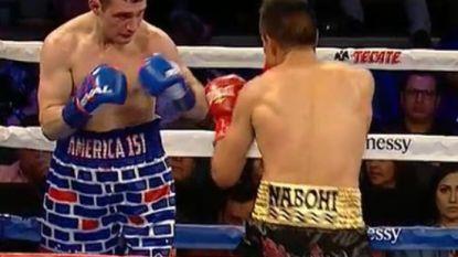 Brutale Amerikaanse bokser wil met provocerende short Mexicaanse opponent uit de tent lokken maar beklaagt zich dat vrijwel meteen