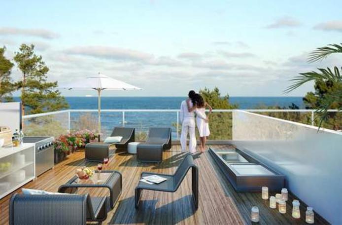 De appartementen bieden een mooi uitzicht over het water. Het is de vraag of alle luxe genoeg is om de beladen geschiedenis te vergeten.