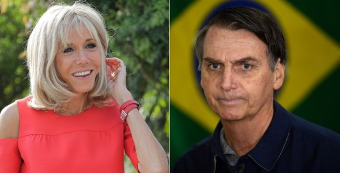 Brigitte Macron en Jair Bolsonaro