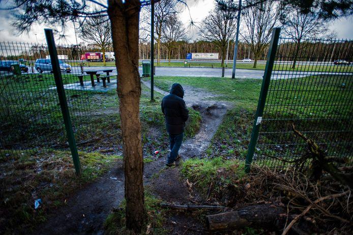 Een gat in het hek van Rijkswaterstaat biedt toegang tot het homobosje bij parkeerplaats Leikant langs de A58.