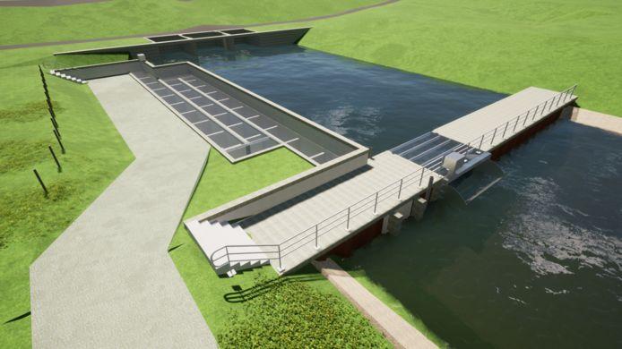De nieuwe vistrap zoals deze bij Kandia wordt gebouwd. Het gemaal is op de achtergrond te zien.