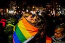 De manifestatie werd gehouden in reactie op de verklaring, waarin homoseksualiteit wordt afgewezen.
