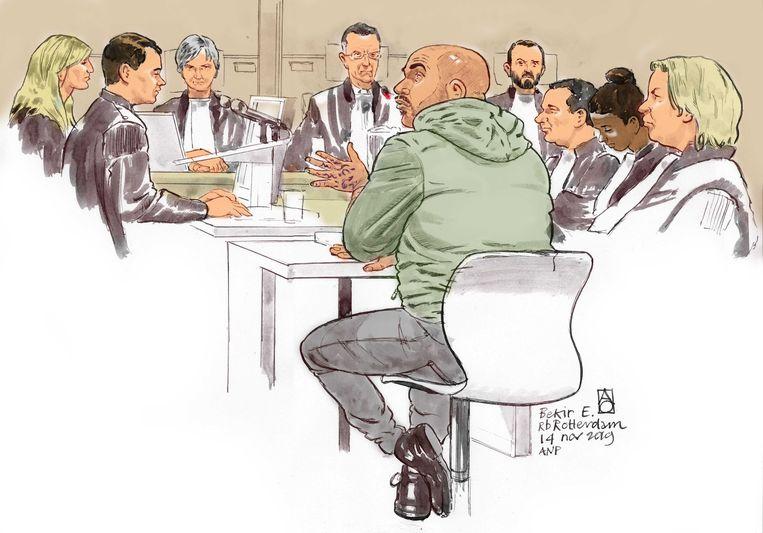 Rechtbanktekening van Bekir E. (32), veroordeeld voor doodslag in de zaak van de 16-jarige scholier Hümeyra.  Beeld ANP