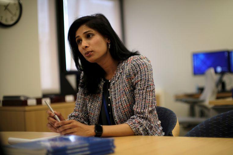 Gita Gopinath, hoofdeconoom van het IMF. Beeld Reuters
