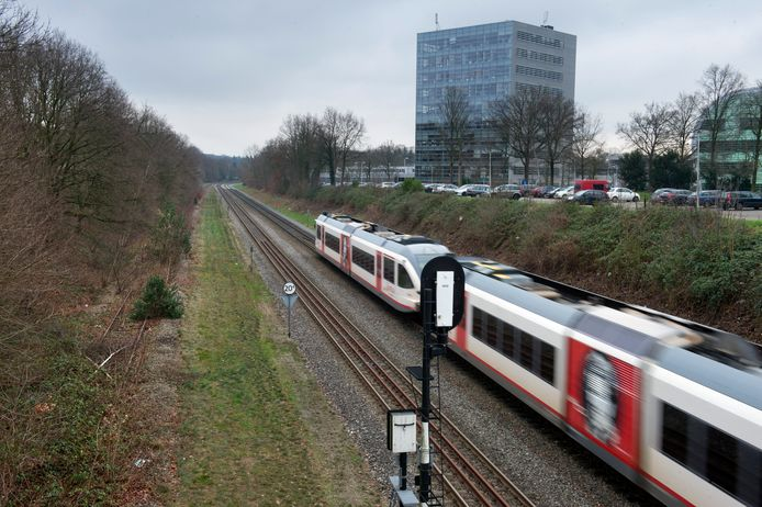 Een trein op de Maaslijn bij Nijmegen. archieffoto Bert Beelen