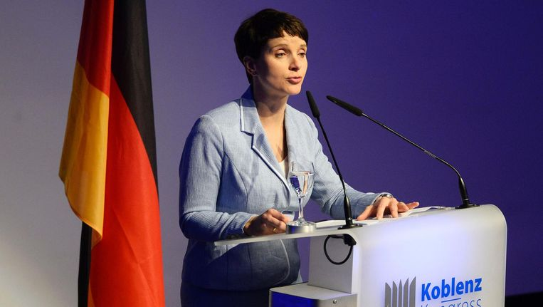 Frauke Petry van Alternative für Deutschland. Beeld null