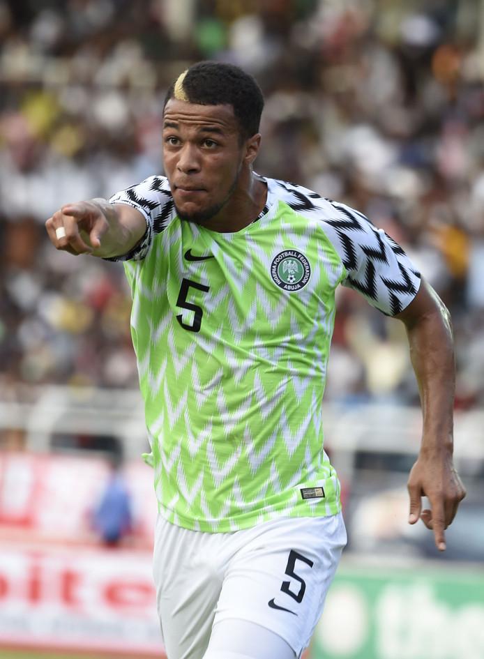 De in Haarlem geboren verdediger William Troost-Ekong juicht na zijn doelpunt voor Nigeria afgelopen week.