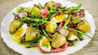 Loïc maakt een klassieke Luikse salade met boontjes en spek