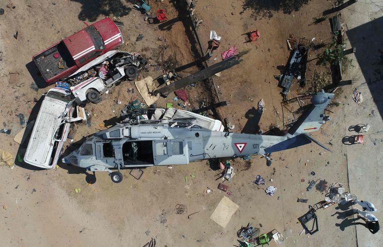 Schade na een aardbeving van 7,2 in Mexico.