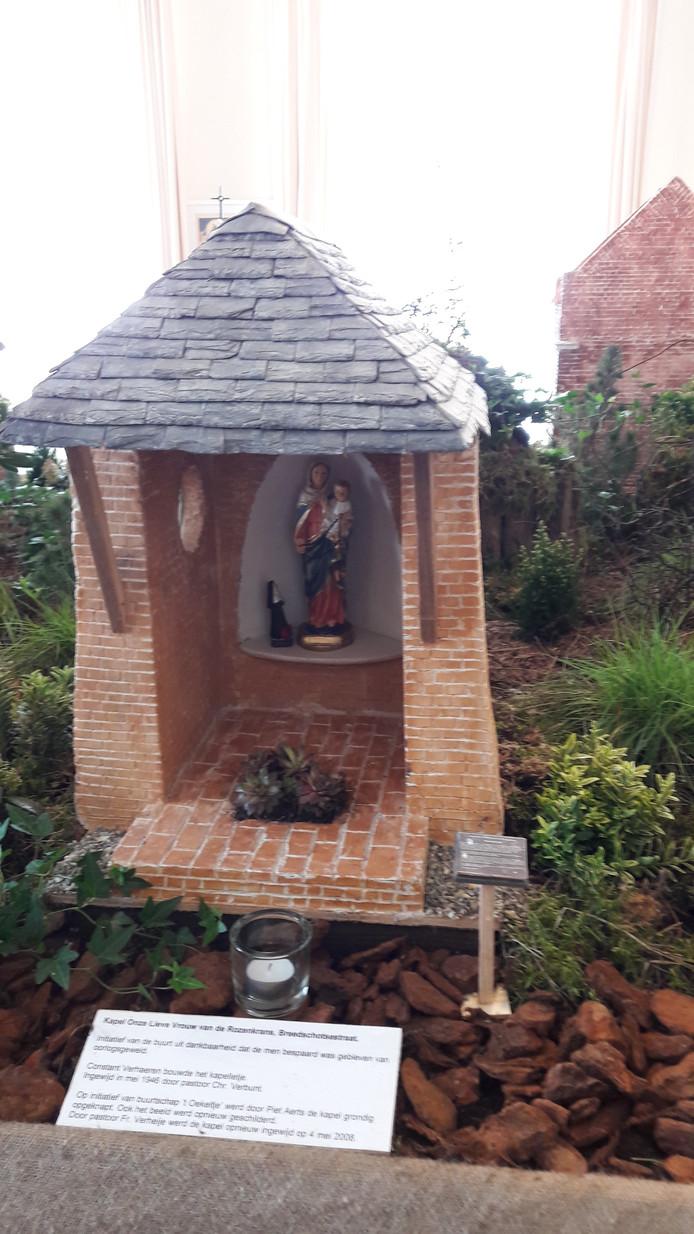 Het model dat Frans Mathijssen maakte van kapel Onze Lieve Vrouwe van de Rozenkrans aan de Breedschotsestraat