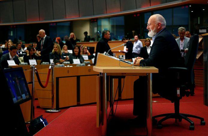 Frans Timmermans voor het Europees Parlement.