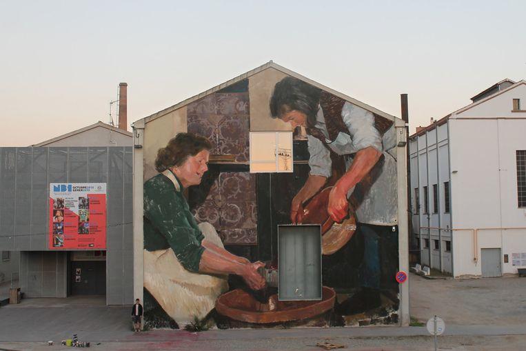 Een voorbeeld van een werk van Mohamed L'Ghacham. Hij  zal de leeuw in de Blauwkasteelstraat overschilderen.