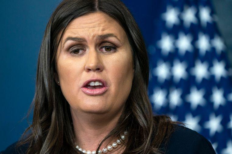 """Woordvoerster van het Witte Huis Sarah Sanders. """"De Amerikaanse missie is niet veranderd. De president heeft duidelijk gezegd dat hij wil dat de Amerikaanse troepen zo snel mogelijk terugkeren"""", zegt de woordvoerster van het Witte Huis, Sarah Sanders."""