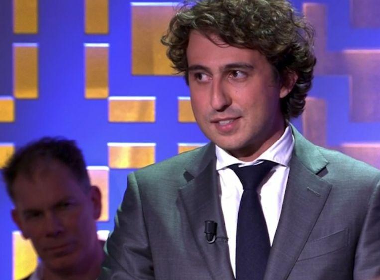 Jesse Klaver tijdens zijn ode in de uitzending van Laat op één. Beeld