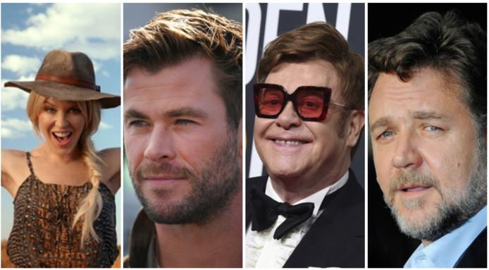 Kylie Minogue, Chris Hemsworth, Elton John et Russell Crowe ont donné pour l'Australie.