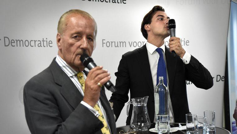 Kamerlid voor FvD Theo Hiddema en partijleider Thierry Baudet in Groningen. Beeld Marcel van den Bergh / de Volkskrant