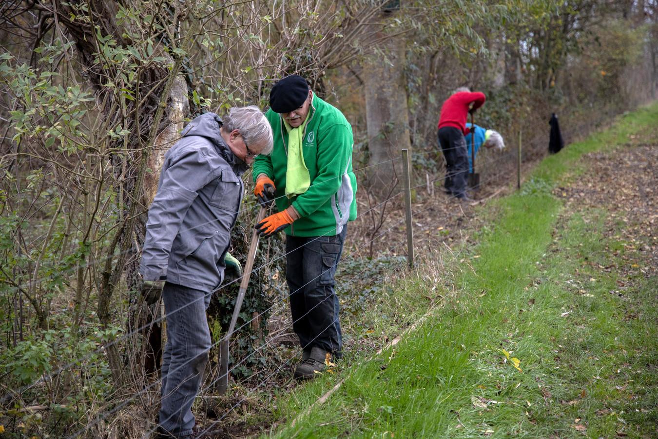 Vrijwilligers van de bomenwerkgroep van het IVN planten bomen op het terrein van Jan de Leeuw in Helmond.