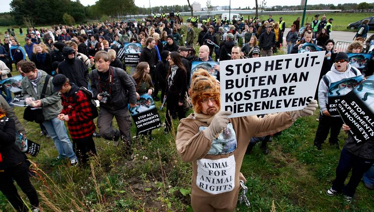 Dierenactivisten voeren actie voor het Biomedical Primate Research Centre in Rijswijk (Archiefbeeld).