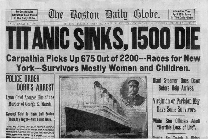 Een krant uit 1912, met daarop het nieuws over de ramp met Titanic.