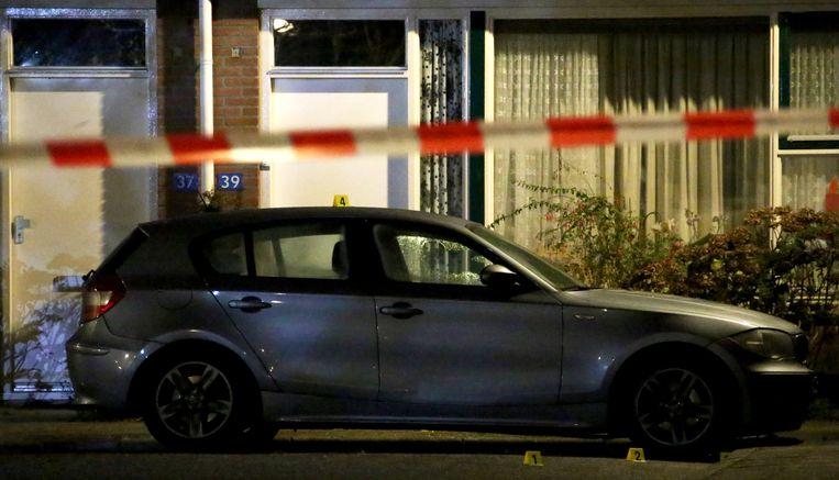 De doorzeefde auto waarin Samir Jabil op 1 december 2014 werd vermoord. Beeld anp