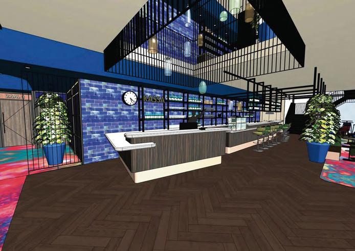 Impressie van interieur bioscoop leisurecentrum Waalwijk
